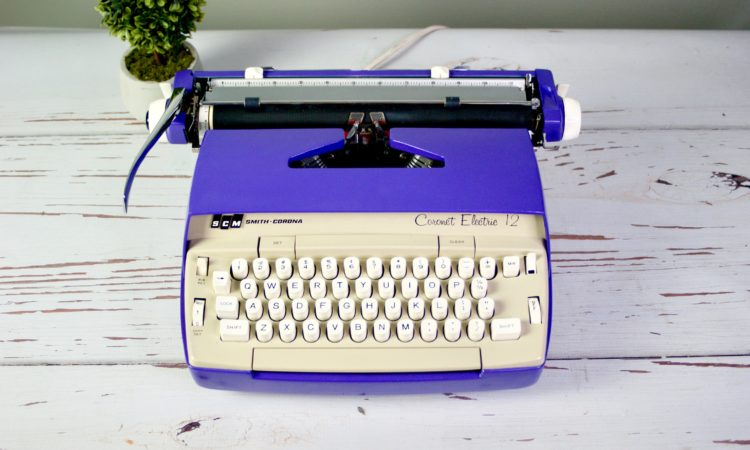 purple vintage typewriter, electric