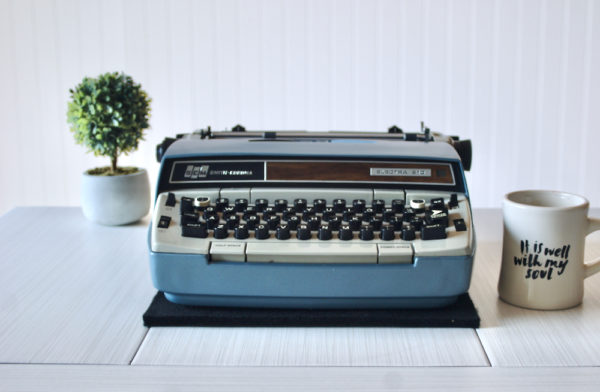 front view electric vintage typewriter